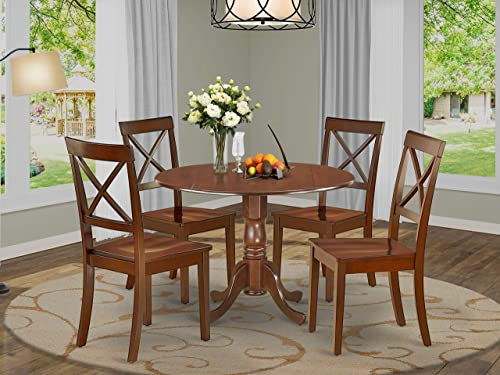East West Furniture DLBO5-MAH-W 5-piece dining table set 4 Fantastic chair
