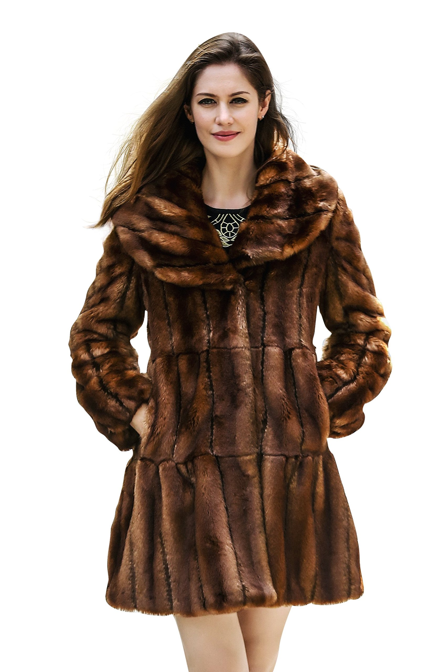 Adelaqueen Women's Vintage Brown Style Luxury Faux Fur Coat with Lotus Ruffle Collar M