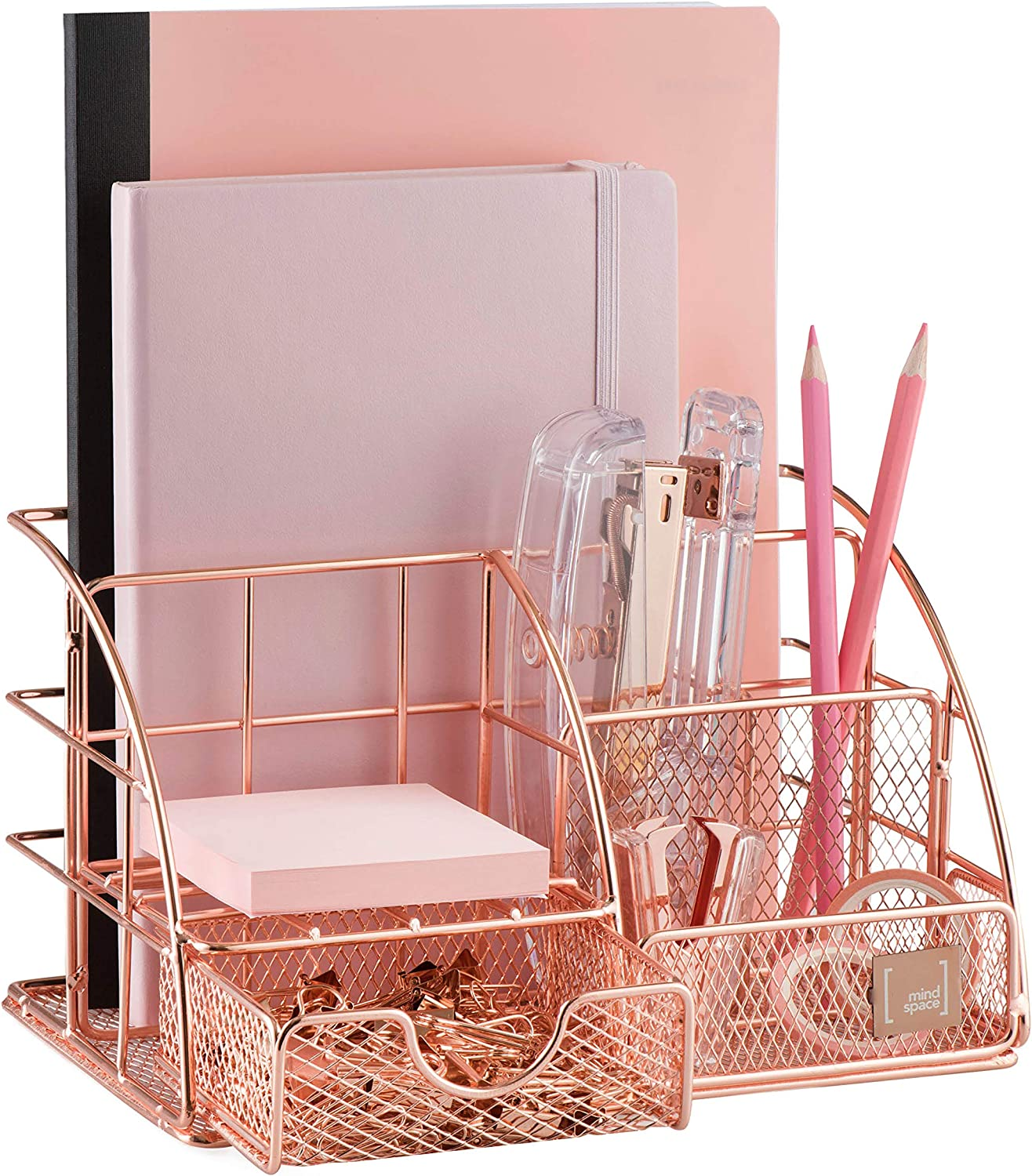 Mindspace Office Desk Organizer with 6 Compartments + Drawer | The Mesh Collection, Rose Gold