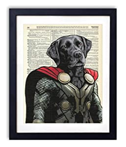Thunder Dog Super Hero Vintage Wall Art Upcycled Dictionary Art Print Poster Kids Room Decor 8x10 inches, Unframed