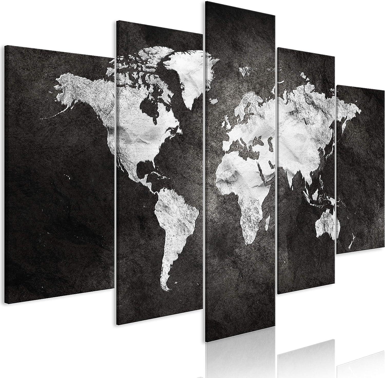 murando - Cuadro en Lienzo Mapamundi 200x100 cm Impresión de 5 Piezas Material Tejido no Tejido Impresión Artística Imagen Gráfica Decoracion de Pared Concreto k-A-0430-b-m