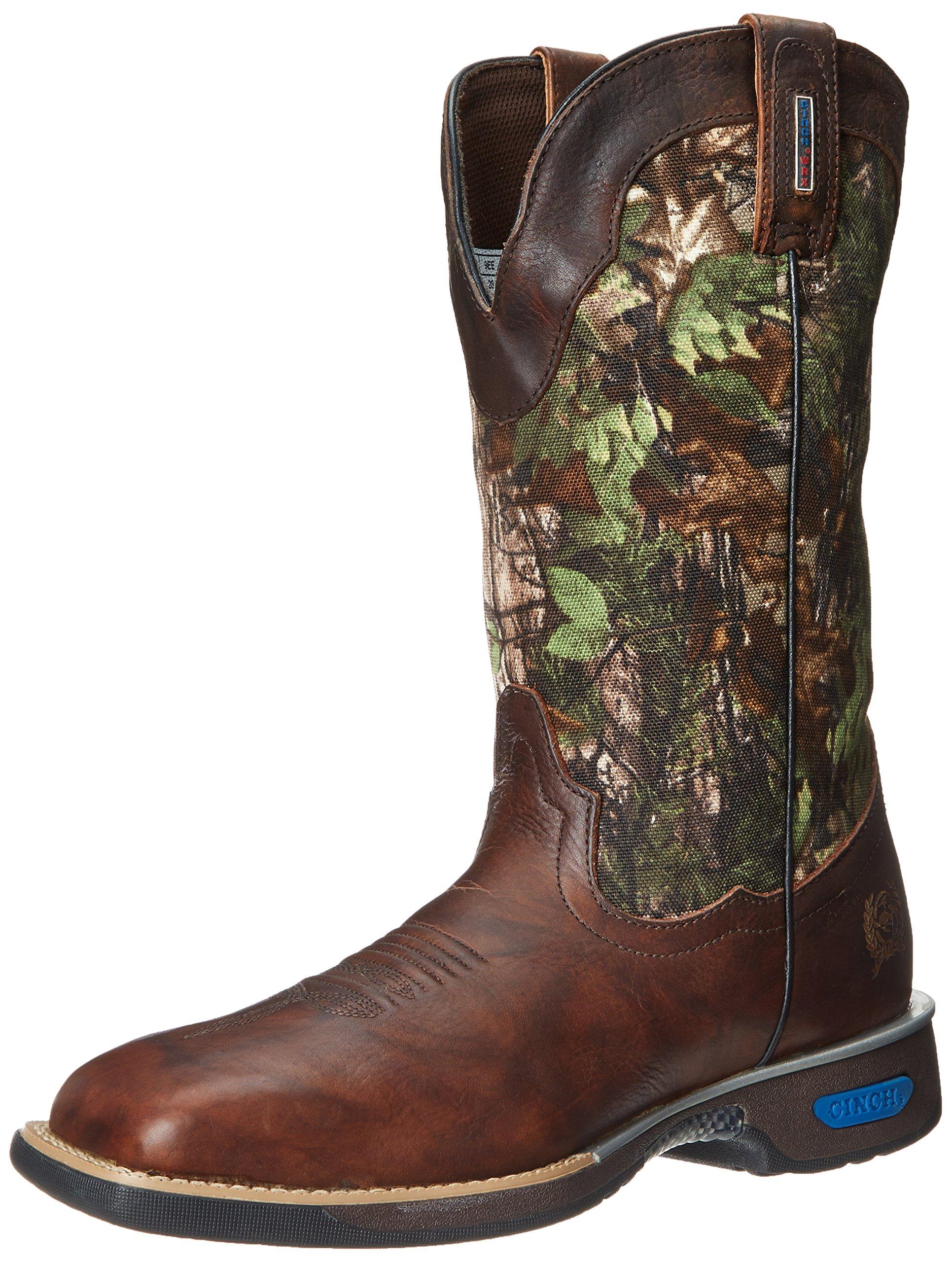 Cinch Men's WRX Commander Waterproof Slip Resistant Work Boot,Brown/Real Tree,10 EE US by Cinch