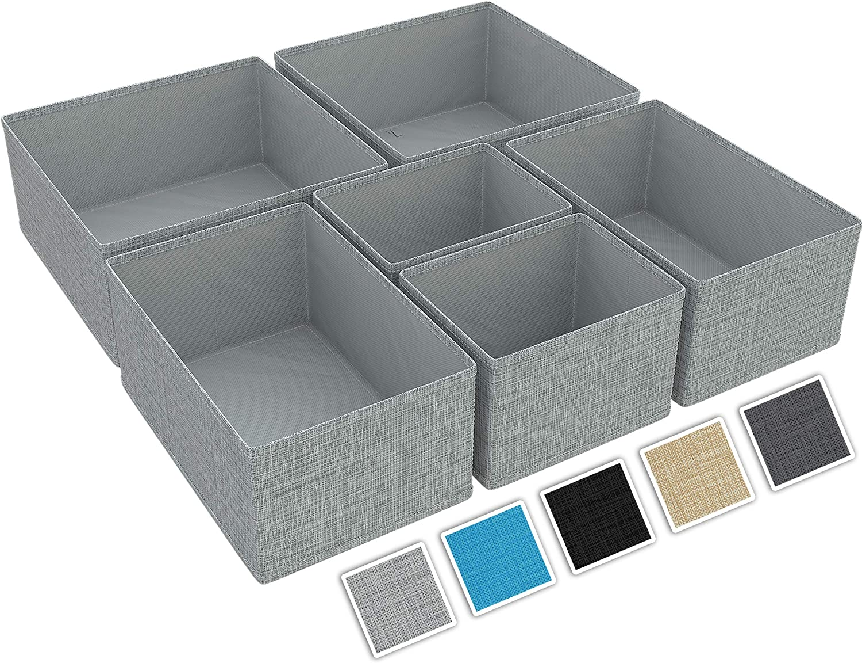 Bra Tie/'s Socks Black Fabric Bin for Dresser /& Shelves |Organize Underwear - Closet Organizer and Storage Baskets| Foldable Cloth Drawers Divider Set of 6 NEATERIZE Drawer Organizer -