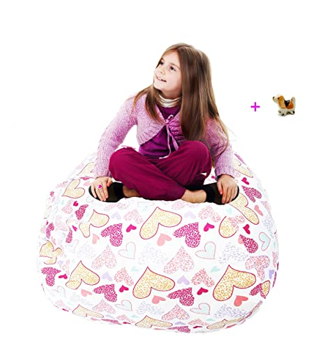 Astounding Pralians Stuffed Animal Storage Bean Bag Chair Hammock Large 38 Toy Organizer Pink For Kids And Adults Room Holds 90 Toys To Reduce Clutter Alphanode Cool Chair Designs And Ideas Alphanodeonline