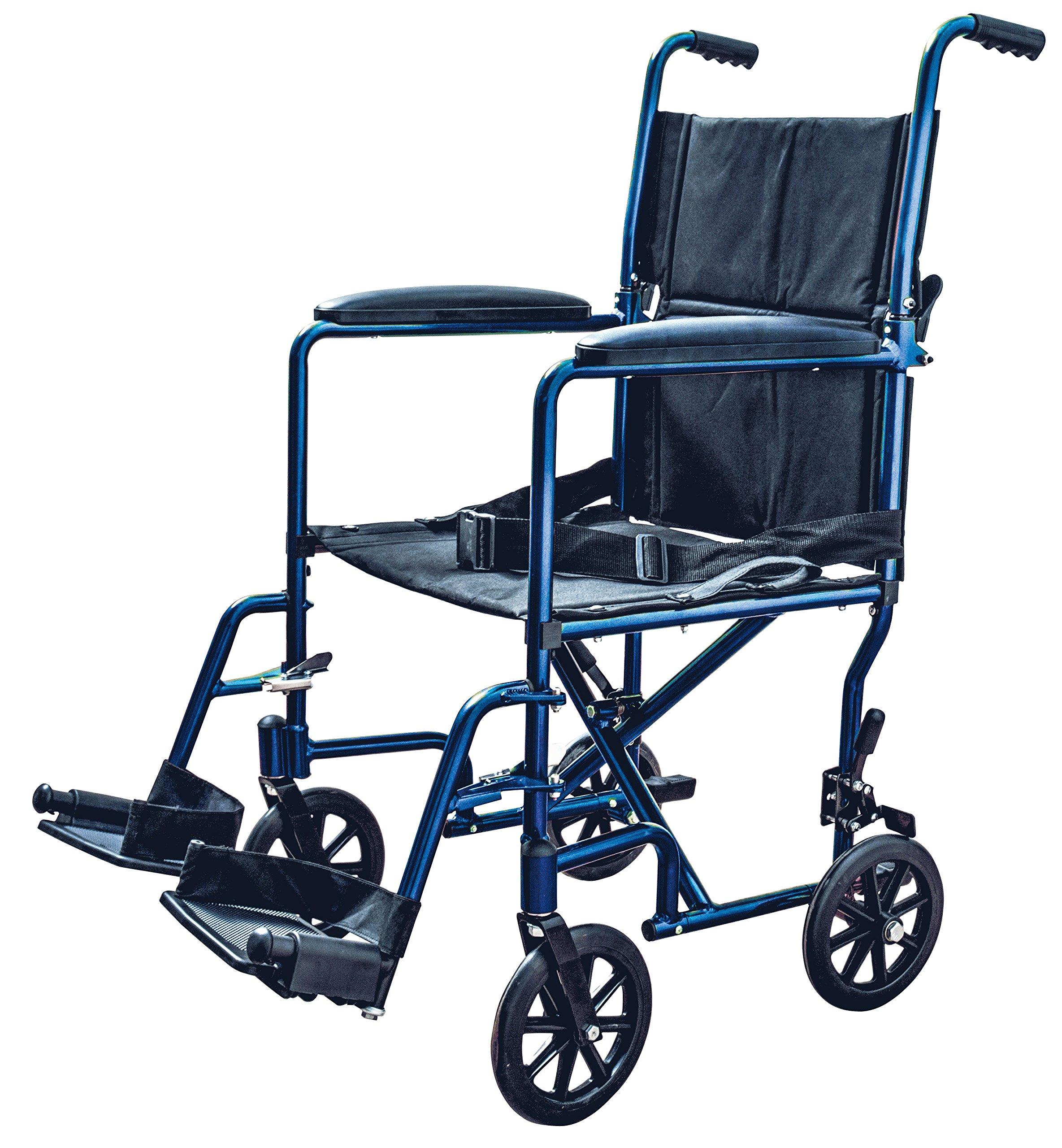 ZCH9201BL - Transport Chair with Swing Away Foot Rest 19 Width, Aluminum, Blue
