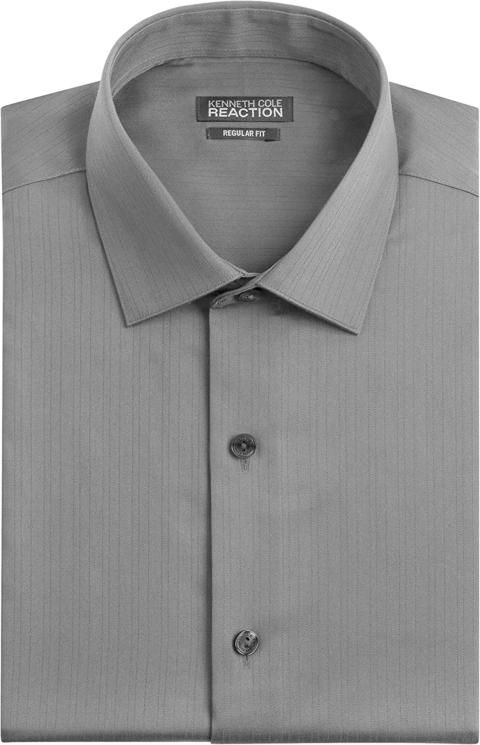 Kenneth Cole Mens Textured Regular Fit Solid Spread Collar Dress ...
