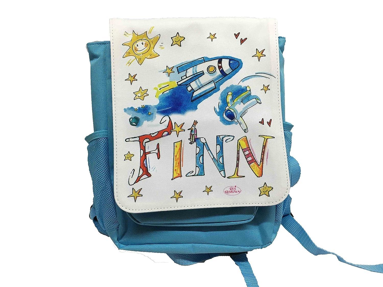 Kindergartenrucksack mit Namen, Rakete, Rosirosinchen, personalisierter Kinderrucksack