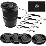 Lens Cap Bundle - 4 Snap-on Lens Covers for DSLR Cameras including Nikon, Canon, Sony - Lens Cap Keepers included (52mm)