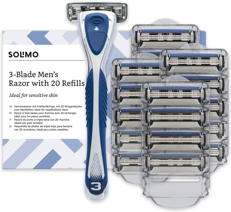 Marca Amazon- Solimo Maquinilla de afeitar de triple hoja para hombre con 20 recambios