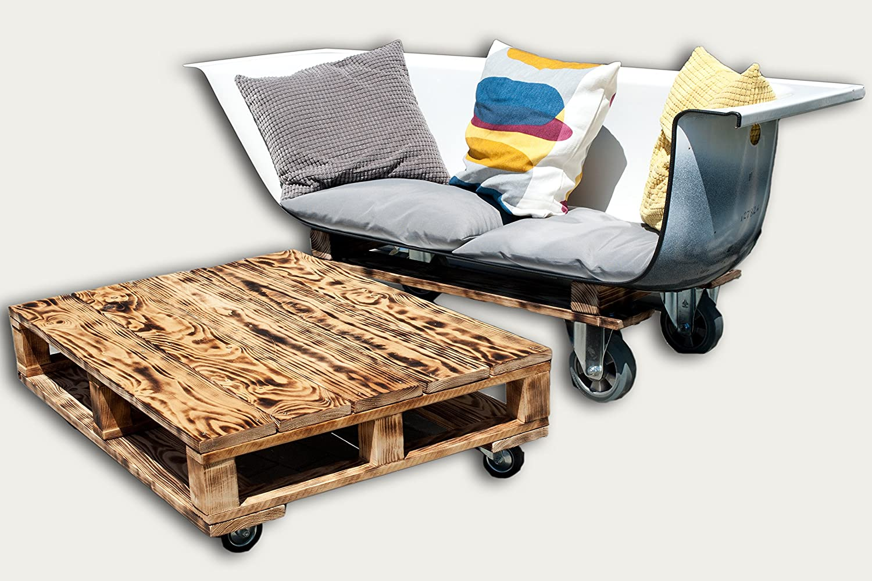 Badewannen-Couch inkl. Tisch | Unikat | 2-sitzer | mobil mit Rädern | 170x70x75cm | handmade | flamed | SET