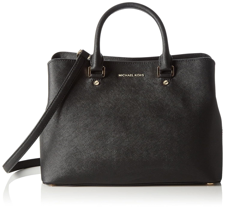 df2942b833699d MICHAEL Michael Kors Women's Large Savannah Satchel, Black, One Size:  Handbags: Amazon.com