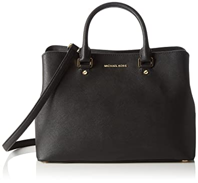 Michael Kors Savannah Large Saffiano Leather, Women\u0027s shoulder bag, Nero,  24x11x33 cm (