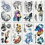 Temporary Tattoo Sticker, Fake Forest Wolf Fox Tattoos Flash Tattoo Sticker for Kids Men Women Makeup Body Art Fake Tattoo, 8