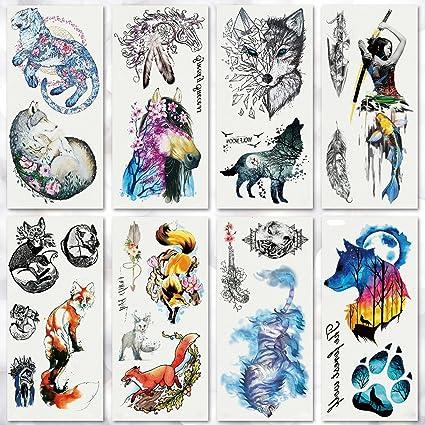 fox squirrel and hedgehog temporary tattoo set for kids