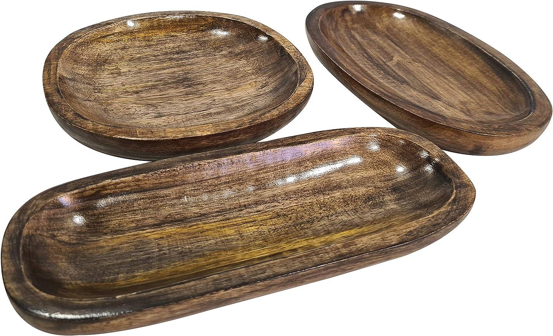 Food Safe Handmade Rustic Brown Platter Serving Plates Durable Salad & Snacks Fruits trays For Kitchen - Set of 3