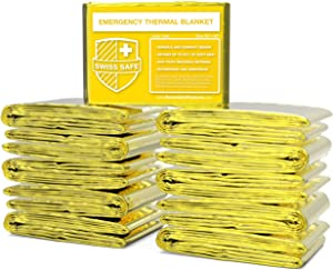 Swiss Safe Emergency Mylar Thermal Blankets (Bulk 10pk, 25pk) - Designed for NASA, Outdoors, Hiking, Survival, Marathons or First Aid (Gold Color)