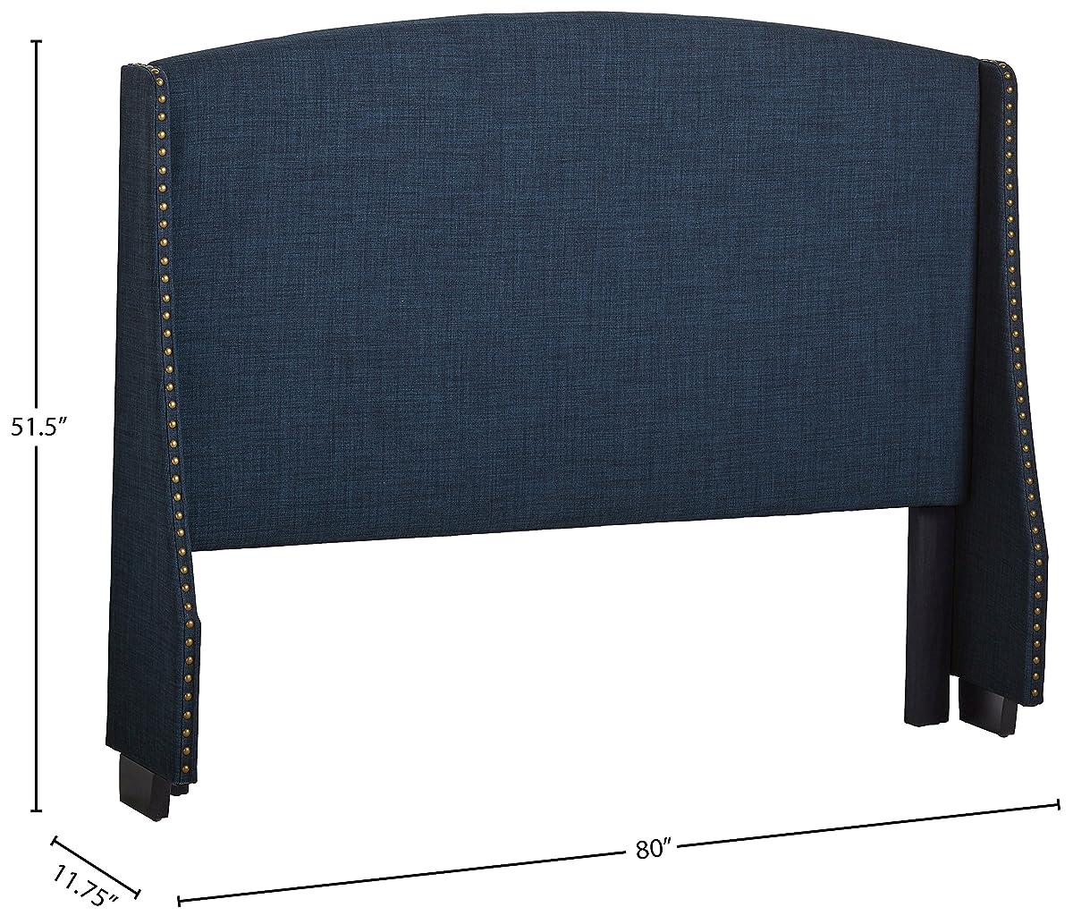 "Stone & Beam Darby Wingback King Headboard, 80""W, Navy Blue"