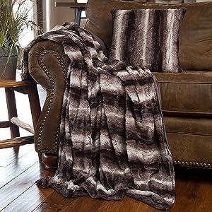 North End Decor Faux Fur Throw Pillow & Blanket, Mink Brown White Striped Plush Pillow,