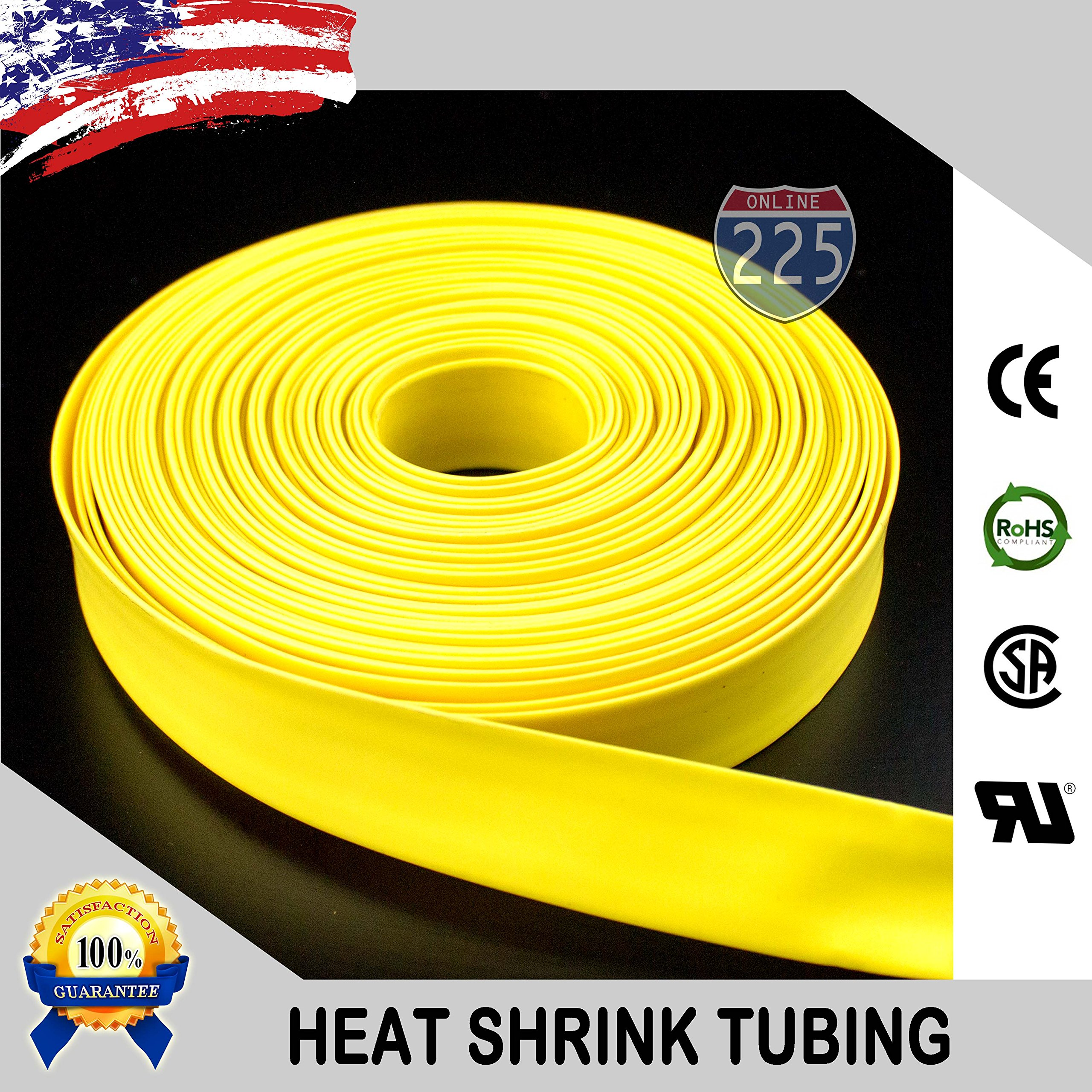 100 FT 1'' 25mm Polyolefin Yellow Heat Shrink Tubing 2:1 Ratio