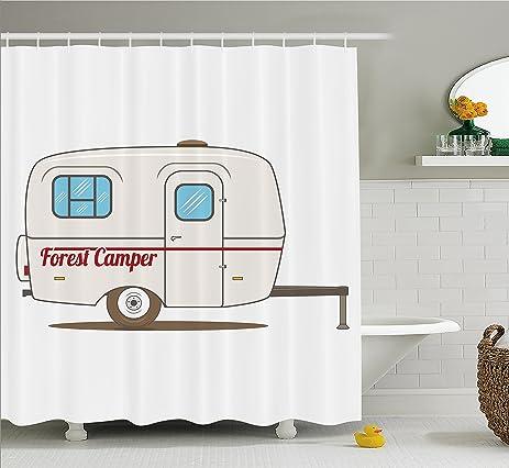 Camper Shower Curtain By Ambesonne, Cute Vintage Van Recreational Caravan  Travelers Truck On The Road