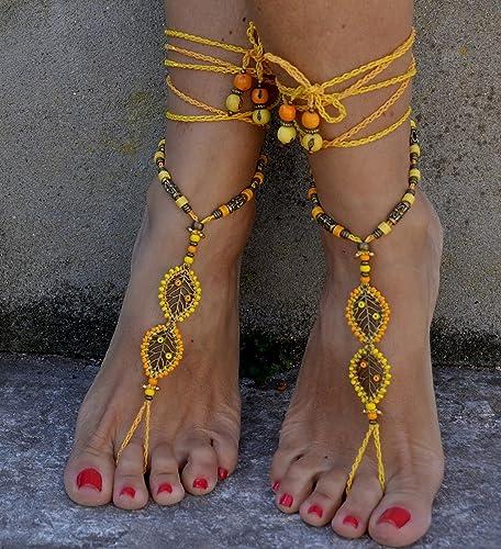 677928d69f03a7 Amazon.com  Yellow Barefoot Sandals