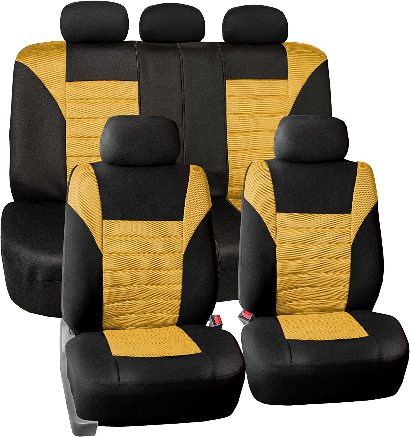 FH Group FH-FB068115 Premium 3D Air Mesh Seat Covers Full Set (Airbag & Split Ready), Yellow/Black Color- Fit Most Car, Truck, SUV, or Van