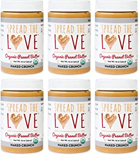 product image for Spread The Love NAKED CRUNCH Organic Peanut Butter (Organic, All Natural, Vegan, Gluten-free, Creamy, Dry-Roasted, No added salt, No added sugar, No palm oil) (6-Pack)