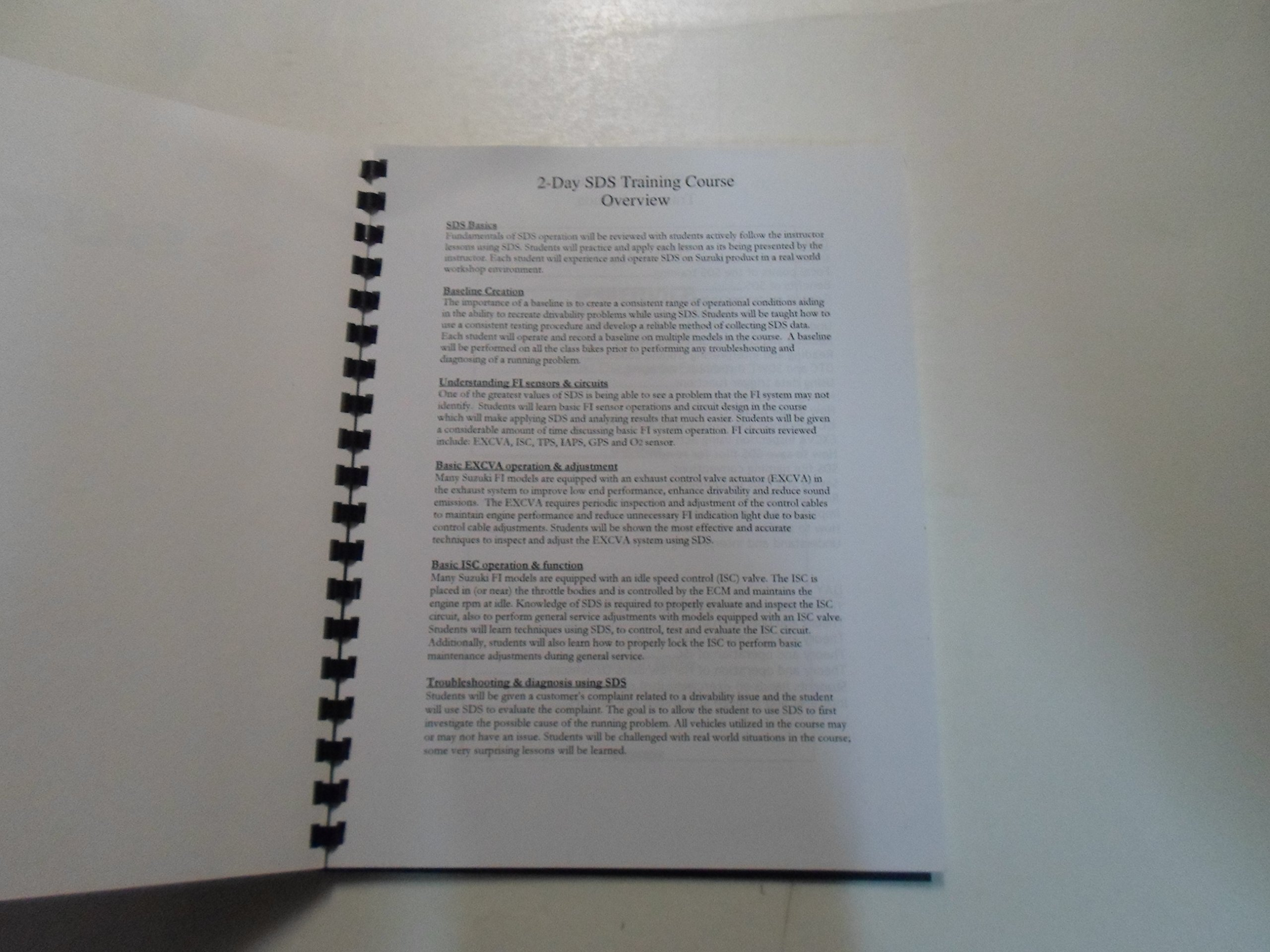 Suzuki Diagnostic System Technical Training Course Manual