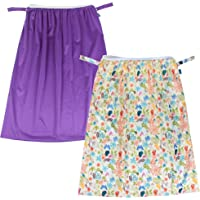 Teamoy (2 Pack) Reusable Pail Liner for Cloth Diaper/Dirty Diapers Wet Bag, Jungle+Purple
