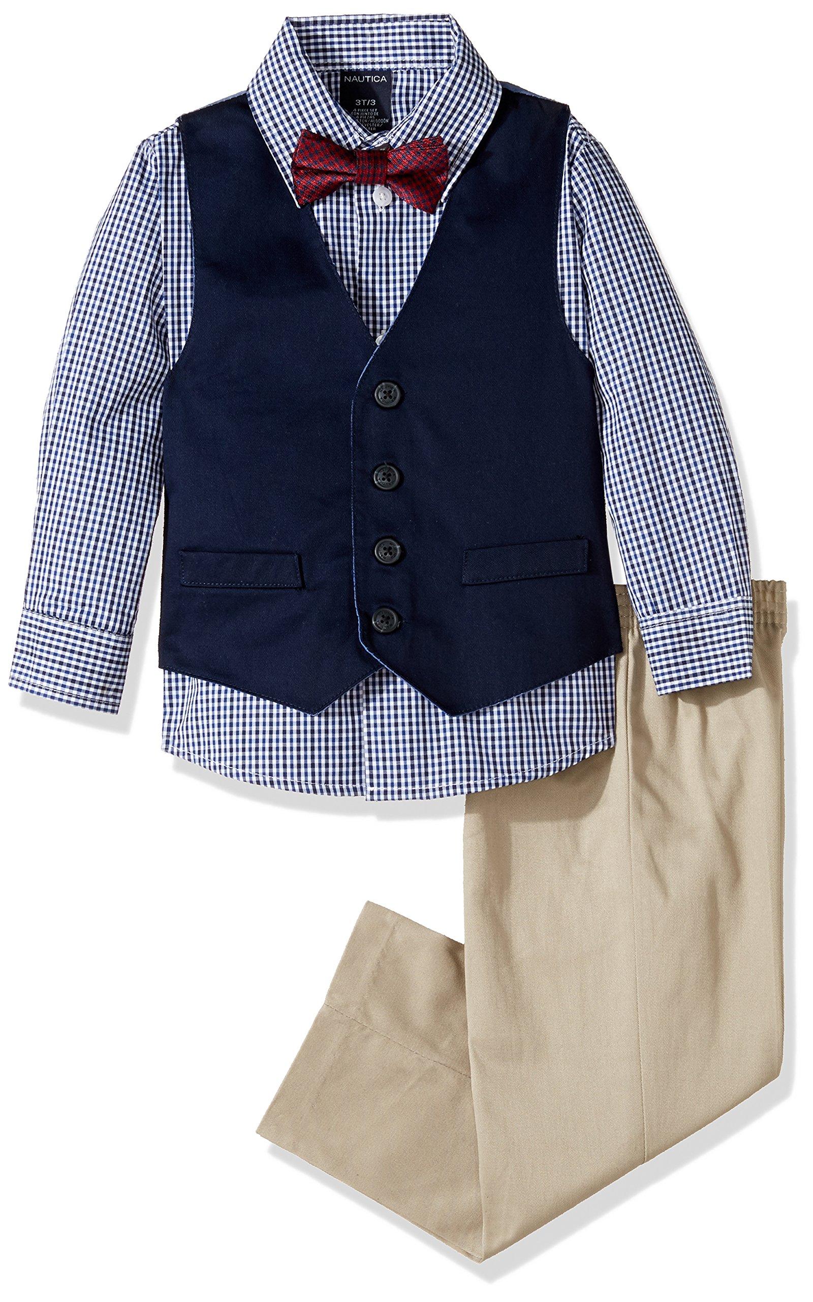 Nautica Boys' 4-Piece Vest Set with Dress Shirt, Bow Tie, Vest, and Pants, Khaki, 3T