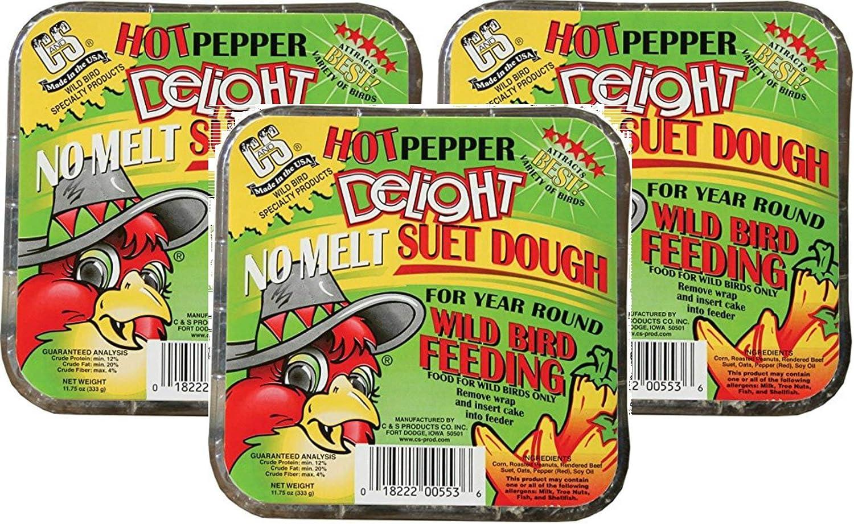 C&S Hot Pepper Delight No Melt Suet Dough Cake (3 Pack / 11.75 oz Each)