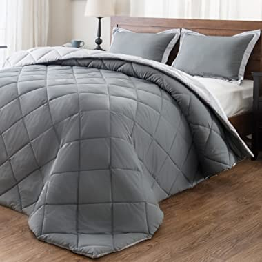 downluxe Lightweight Solid Comforter Set (Queen) with 2 Pillow Shams - 3-Piece Set - Charcol and Grey - Hypoallergenic Down Alternative Reversible Comforter