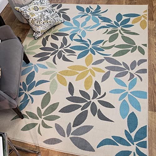 Maxy Home Adaline Floral Leaves Soft Cut Pile Non Slip 5' x 6'6″ New Trend Area Rug