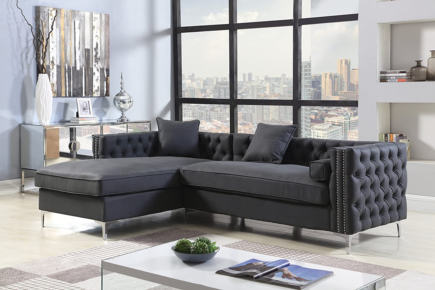 Amazon Com Iconic Home Da Vinci Left Hand Facing Sectional Sofa L Shape Chaise Pu Leather Button Tufted With Silver Nailhead Trim Silvertone Metal Leg With 3 Accent Pillows Modern Contemporary Black Home