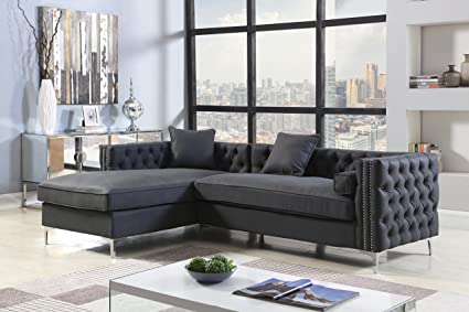 amazon com iconic home da vinci left hand facing sectional sofa l rh amazon com grey sectional sofa with nailhead trim