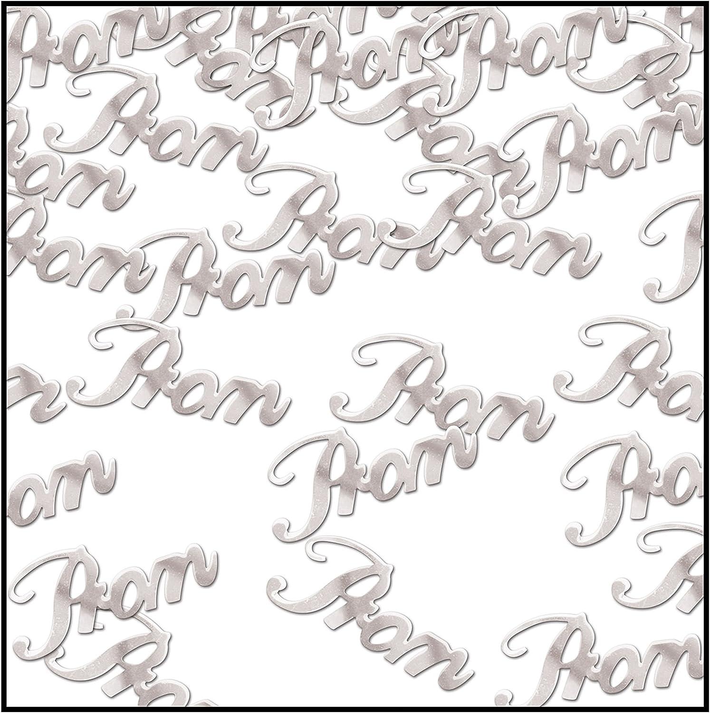 Beistle Silver Prom Script Cutout Plastic Confetti-1 pack / .5oz, 0.5 oz