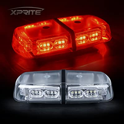 Xprite Gen 3 RED 36 LED 18 Watts Roof Top Hign Intensity Law Enforcement Emergency Hazard Warning LED Mini Bar Strobe Light with Magnetic Base: Automotive