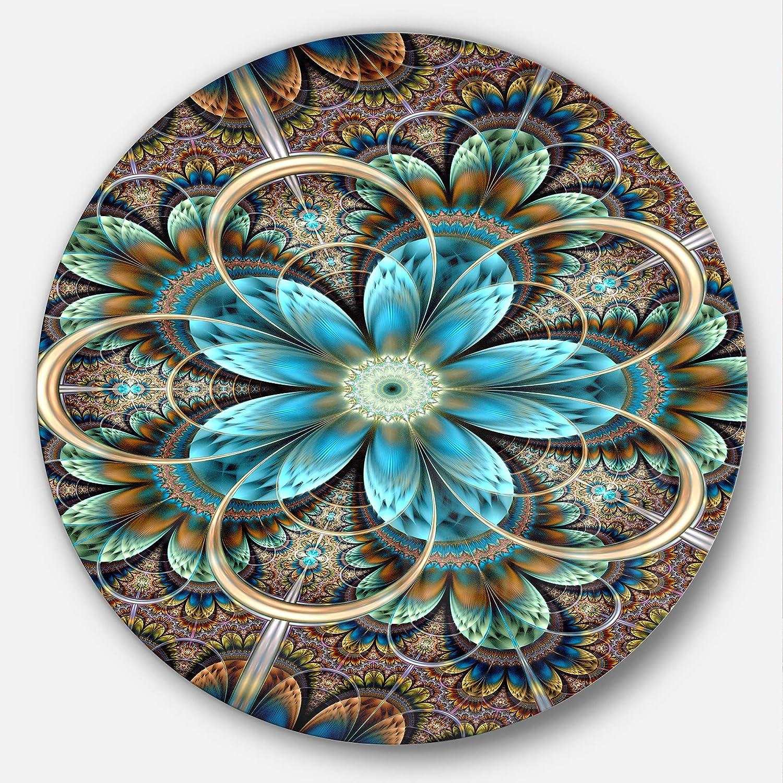 Disc of 11,Blue,11 X 11 Designart MT11920-C11 Brown Blue Fractal Flower Floral Disc Metal Wall Art