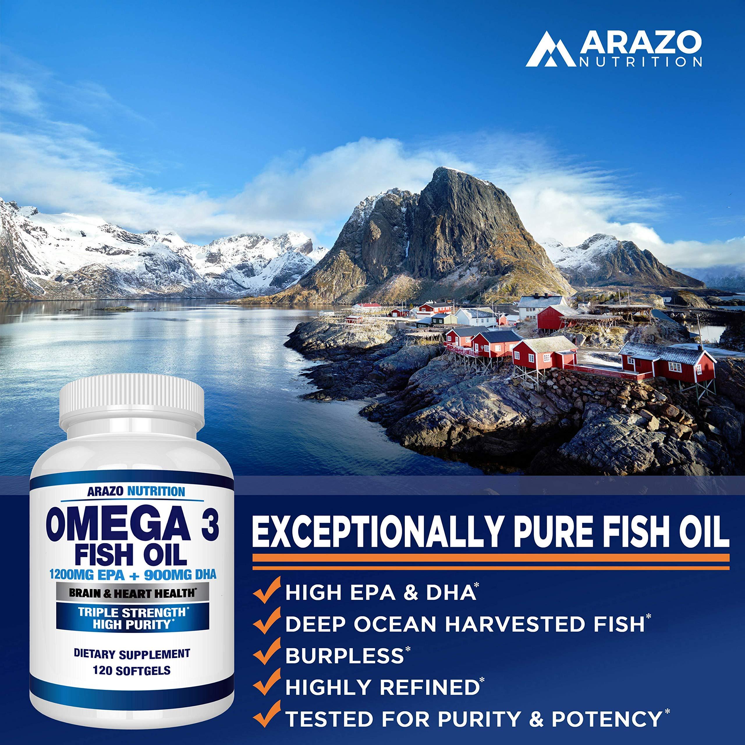 Omega 3 Fish Oil 2250mg   HIGH EPA 1200MG + DHA 900MG Triple Strength Burpless Capsules   120 Pills   Arazo Nutrition by Arazo Nutrition (Image #4)