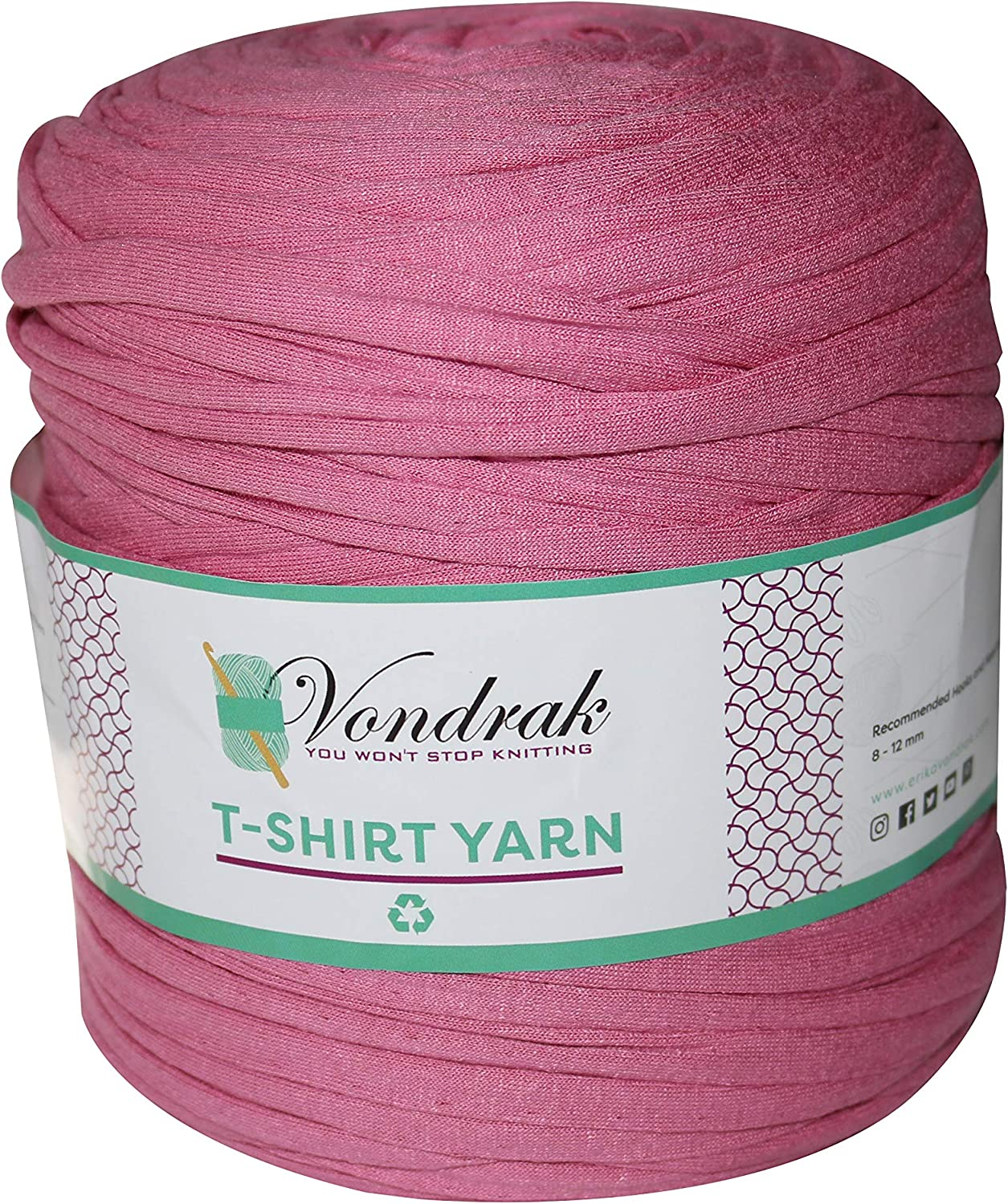 Medium T-Shirt Recycled Jersey Knitting Crochet Rug Yarn Pale Rose