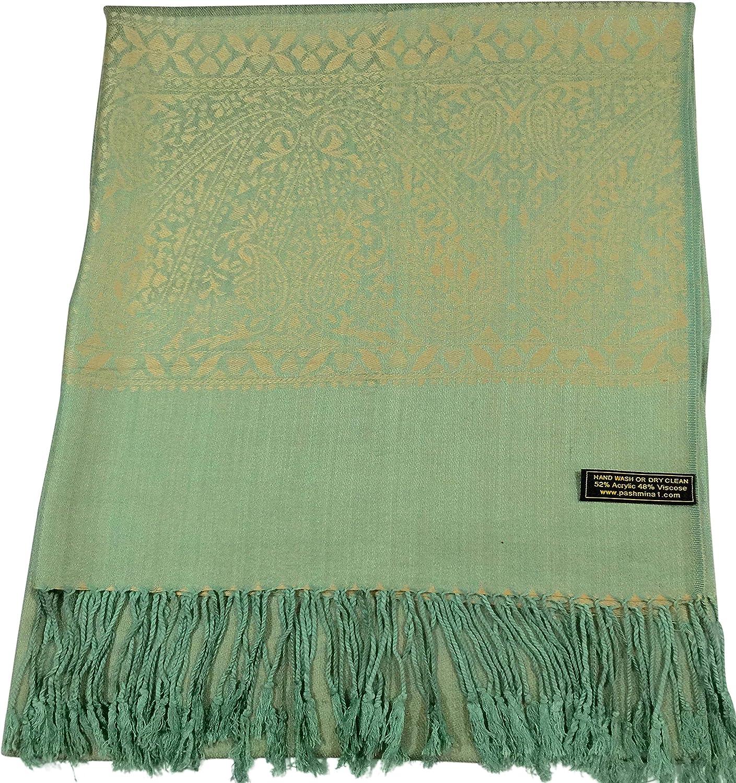 CJ Apparel marrone dorato design Paisley Scialle Pashmina Sciarpa Wrap STOLA secondi NUOVI