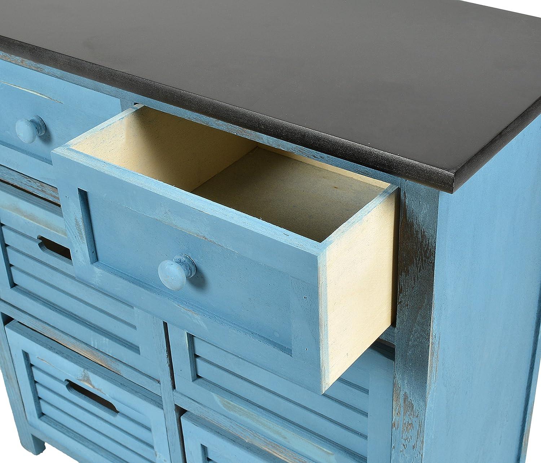 ts-ideen Landhaus Kommode Flur Bad Schrank Shabby Used Optik in blau ...