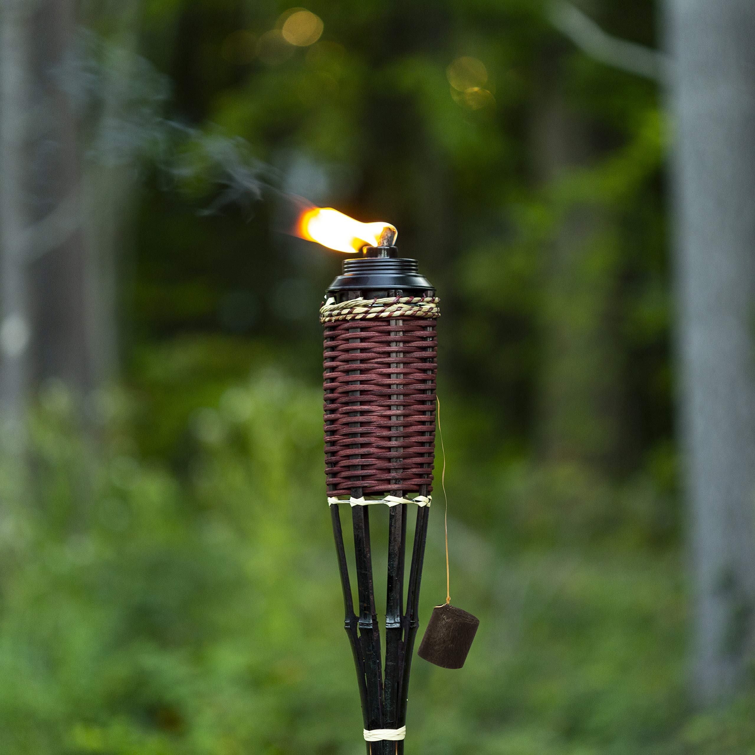 5 Star North Brown Weave Bamboo Torches; Decorative Torches; Fiberglass Wicks; Extra-Large (16oz) Metal Canisters for Longer Lasting Burn; Stands 59'' Tall (12 Pack) by 5 Star North (Image #5)