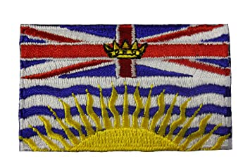 BRITISH COLUMBIA BC PROVINCIAL FLAG SMALL IRON ON PATCH CREST BADGE      CANADIAN PROVINCE     NEW