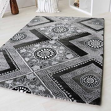 Moderner Kurzflor Teppich Designer Versace Muster Beige Braun Creme U0026  Schwarz Grau Weiß Wohnzimmer (120