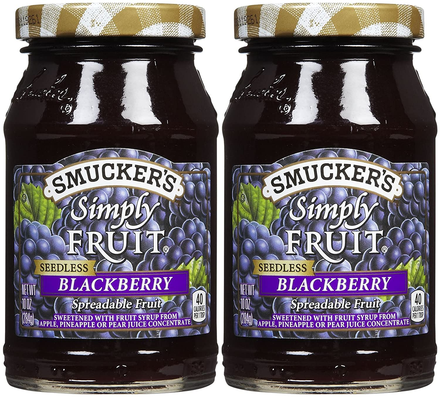 Smucker's Simply Fruit Seedless BlackBerry Spread, 10 oz, 2 pk