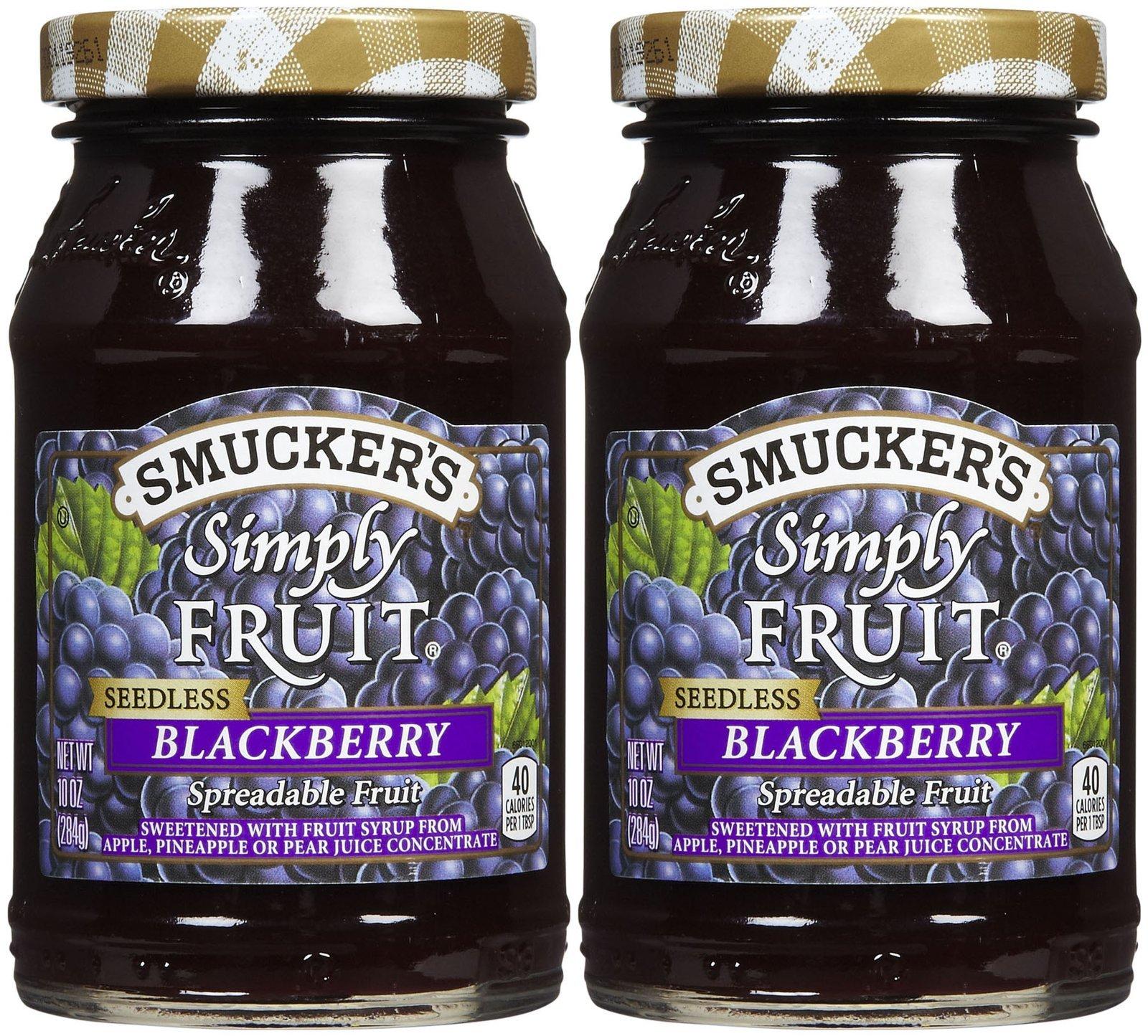 Smucker's Simply Fruit Seedless Blackberry Spread, 10 oz, 2 pk
