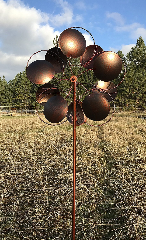 Amazon.com : MJ SPINNER DESIGNS Bronzed Inverse Circles Wind Garden ...