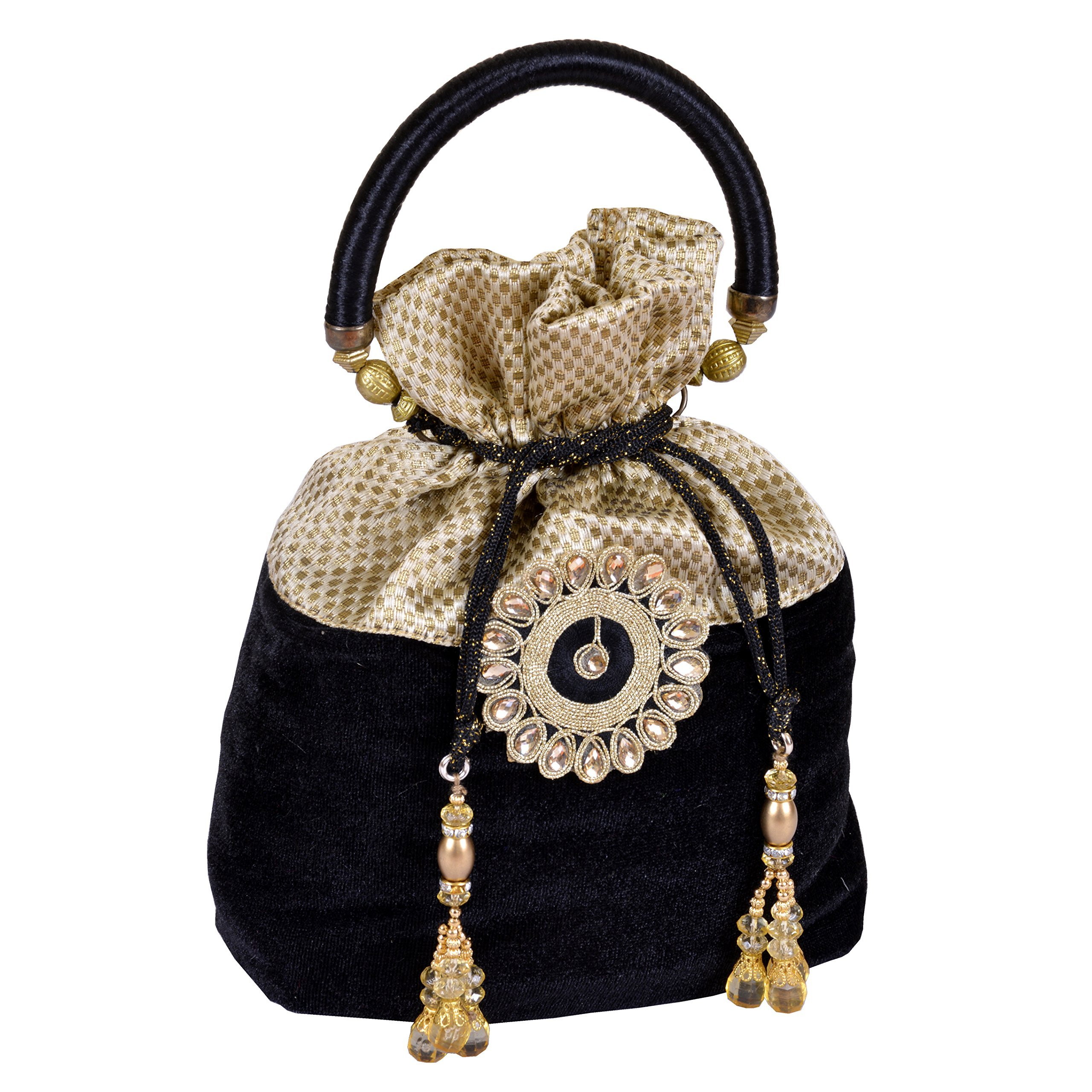 Maitri Creations Women Traditional Silk Brocade Purse Potli Bag Drawstring Jewelry Pouch Bag Cotton Bag Gift Bag Value Set Wristlet Beaded Handbag Wedding Evening Party Designer Wallet Bridal Clutch