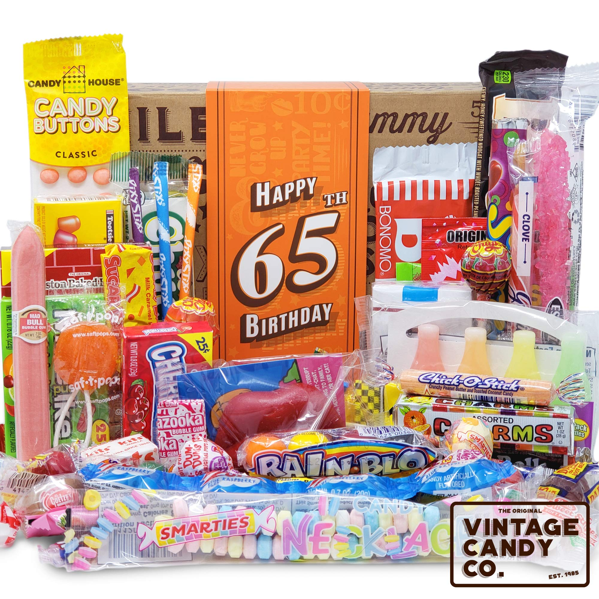 VINTAGE CANDY CO. 65TH BIRTHDAY RETRO CANDY GIFT BOX - 1954 Decade Childhood Nostalgia Candies - Fun Funny Gag Gift Basket - Milestone 65 Years Birthday - PERFECT For Man Or Woman Turning Sixty Five by Vintage Candy Co.